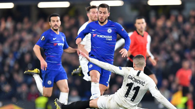 Eden Hazard scored the winning penalty for Chelsea to beat Eintracht Frankfurt 4-3 in their Europa League semi-final shootout on Thursday and become the fourth English side to reach a European final this season. (Photo: AFP)