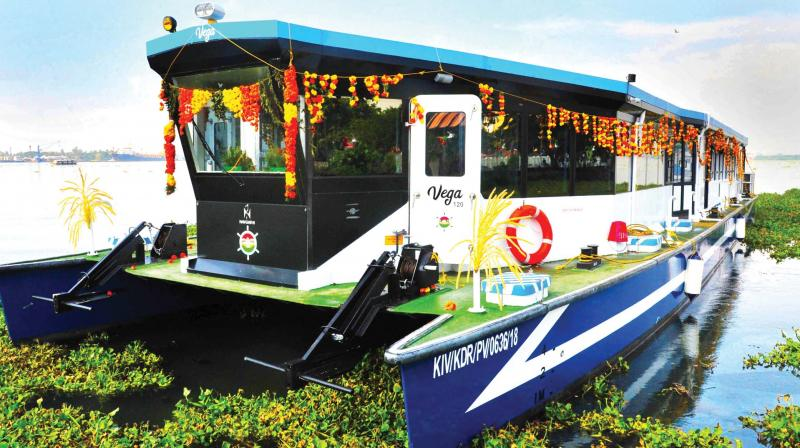 High speed ferry boat 'Vega 120' at the Ernakulam boat jetty in Kochi on Monday after the maiden service.(Photo: DC)