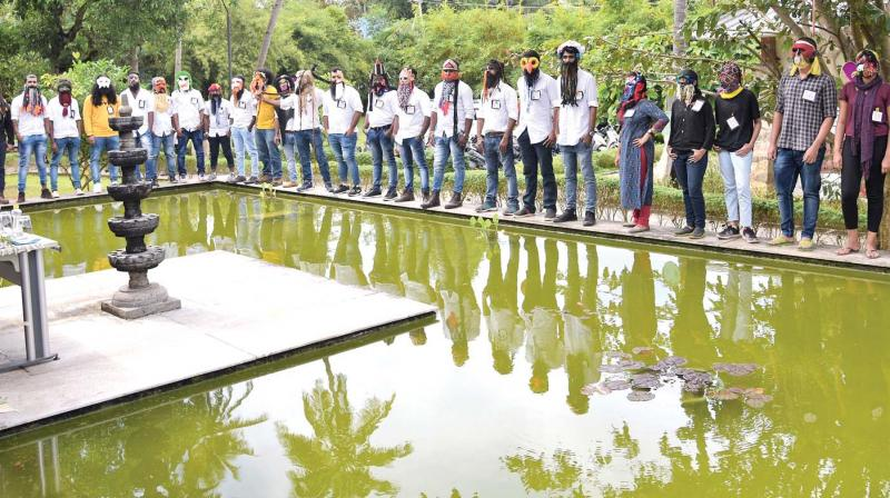 The students of Kerala State Institute of Design during a face art programme held on the campus.