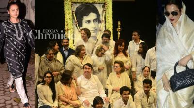 Several celebrities turned up at the Chautha ceremony of Shashi Kapoor, who passed away earlier this week, held in Mumbai on Thursday.