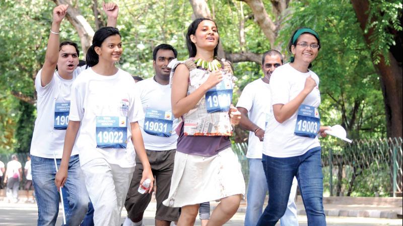 A file photo of marathoners in Bengaluru.