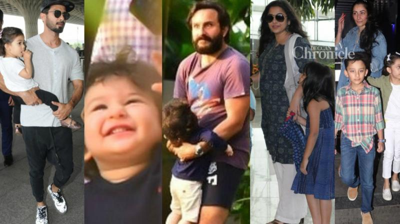 Bollywood stars were clicked with little ones as they stepped out in Mumbai on Saturday. (Photo: Viral Bhayani/ Instagram)