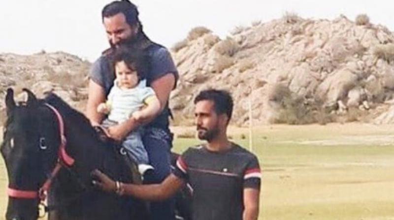 Saif Ali Khan with son Taimur in Rajasthan.