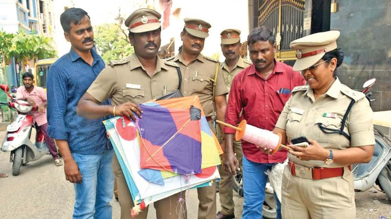Police after recovering rolls of manja thread from several shops in the city.(DC)