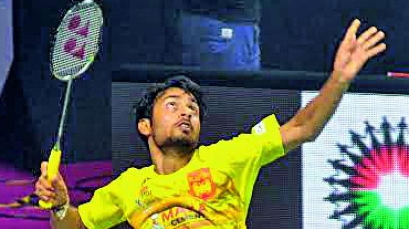 Bengaluru Blasters' Sourabh Varma in action during the PBL-2 tie on Monday. (Photo: DC)