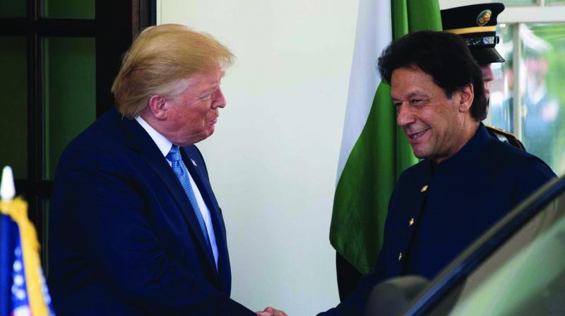 US President Donald Trump greets Pakistan Prime Minister Imran Khan at the White House in Washington DC on Monday. (Photo: AFP)
