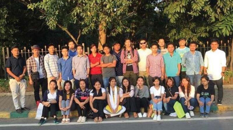 Members of the Chakma Students' Association of Karnataka after a meeting in the city.