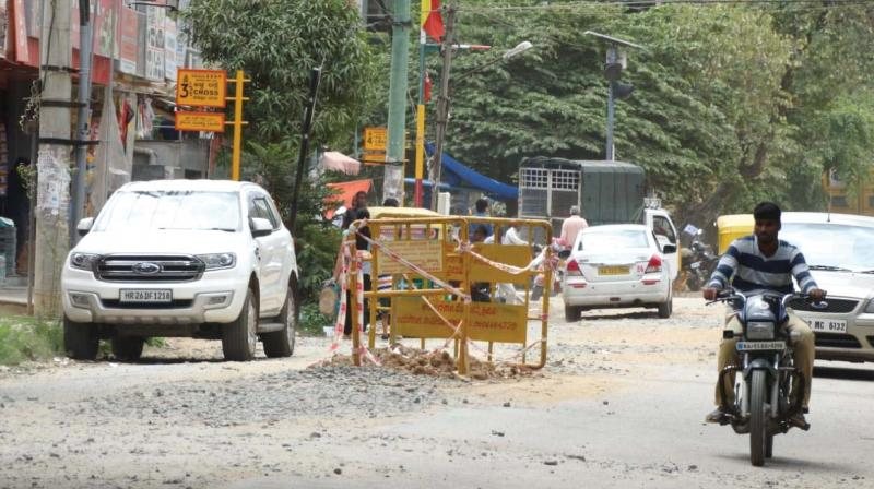 The poor condition of the Kasturinagar Main Road	(Photo: DC)