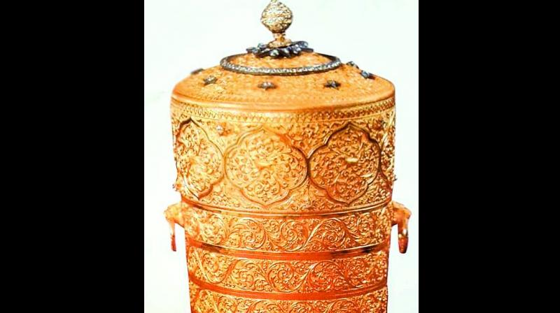 The three-tier golden tiffin box that went missing from the Nizam Museum at Purani Haveli on Sunday.