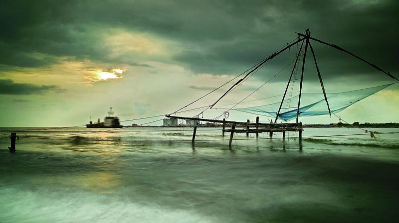 Chinese fishing nets at Fort Kochi beach.