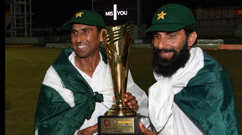 Pakistan clinched a thrilling 101-run win in the third and final Test with six balls to spare to seal their first ever series victory in the West Indies, thus giving one of the most fitting farewell  to Pakistan's outgoing veterans Misbah ul Haq and Younis Khan.  (Photo: AFP)