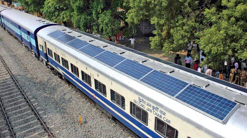 The southern zone's first solar powered train inaugurated on Thursday in Salem by general manager of Southern Railway Vashishta Johri. (Photo: DC)