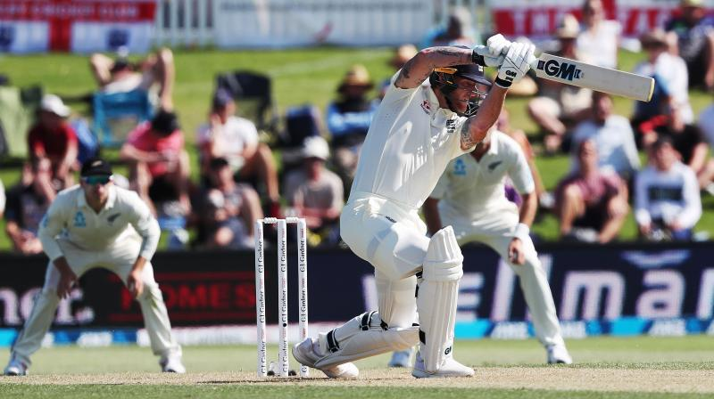 England all-rounder Ben Stokes provided some late fireworks, which included hitting Trent Boult for four successive boundaries, to finish on 67 not out, leaving his side well placed to extend their advantage on Friday. (Photo:AFP)