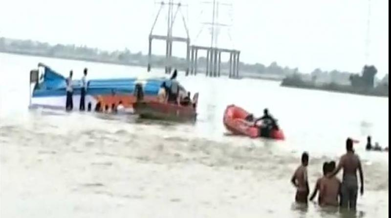 The boat, with about 35-40 passengers, was on its way to Rajamahendravaram from Devipatnam when the tragedy struck. (Photo: ANI)