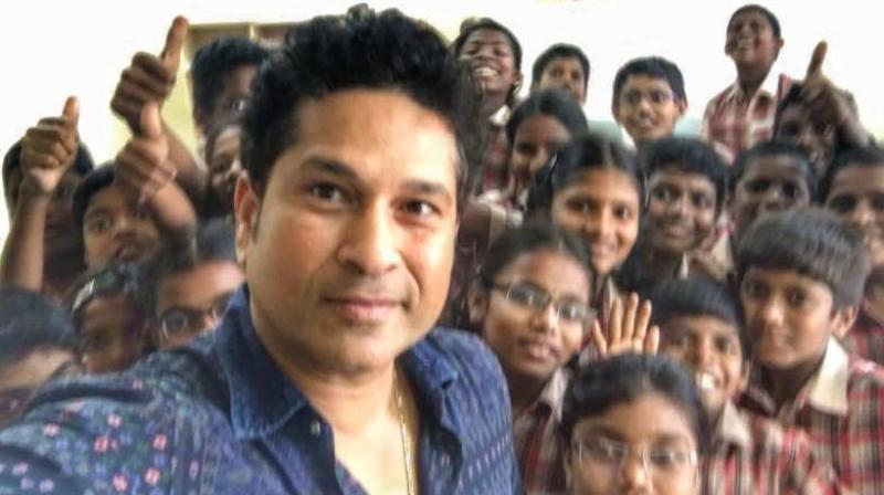 Sachin Tendulkar also visited a public school in Nellore district. (Photo: Facebook)
