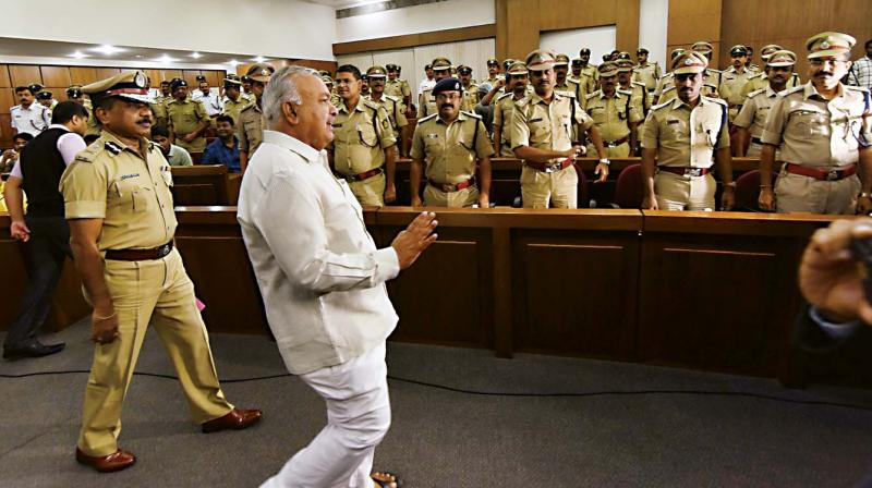 Home Minister Ramalinga Reddy at a police officers' review meeting at Vikas Soudha in Bengaluru on Saturday. (Photo: DC)