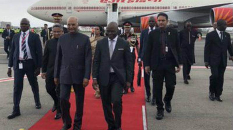 Kovind arrived at the Cardinal Bernadine de Cotonou International Airport in Cotonou, the largest city in the West African country. (Photo: Twitter)