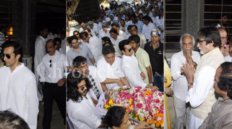 On Thursday morning, veteran Bollywood actor Vinod Khanna passed away at the age of 70 in Mumbai due to advanced bladder carcinoma. The entire industry along with Amitabh Bachchan, Rishi Kapoor, Jackie Shroff, Ramesh Sippy attended the actor's funeral. They were seen passing their condolences to the actor's family. (Photo: Viral Bhayani)
