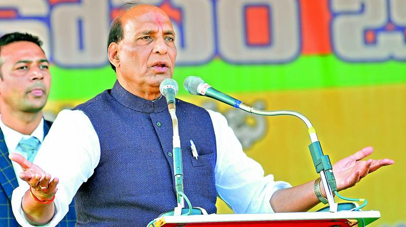 Union home minister Rajnath Singh speaks at the public meeting in Hanamkonda on Friday.  (DC)