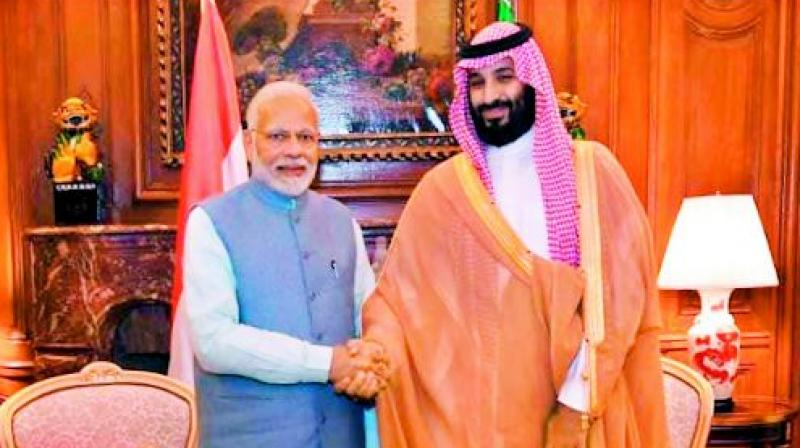 Prime Minister Narendra Modi shakes hands with Saudi Crown Prince Mohammed bin Salman on the sidelines of G20 Summit in Argentina on Thursday