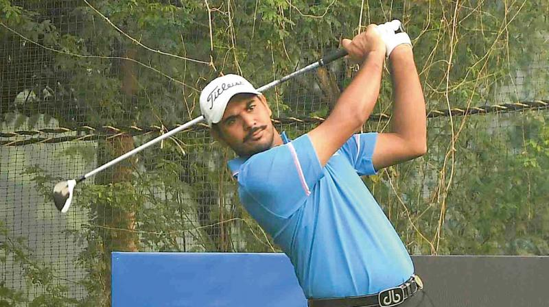 Gaganjeet Bhullar in action during the Panasonic Open Pro-Am at the Delhi Golf Club on Wednesday.