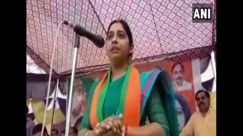 Sanghamitra Maurya, the daughter of UP cabinet minister Swami Prasad Maurya, on Wednesday said she would become a goon if anyone tries to bully the people of Badaun, the parliamentary constituency she is contesting from on a BJP ticket. (Photo: ANI)