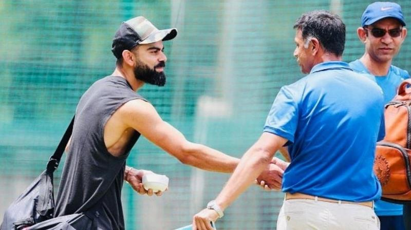 Rahul Dravid was spotted in the Indian cricket team's training season ahead of the third T20I against South Africa at the Chinnaswamy Stadium in Bengaluru. (Photo: Virat Kohli/Twitter)