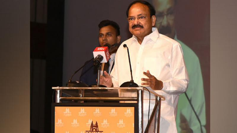 Speaking at the Hyderabad Management Association's 46th Annual Awards function in Hyderabad, the Vice President called for the 'disturbing trend' of lowered political discourse to be reversed. (Photo: ANI)