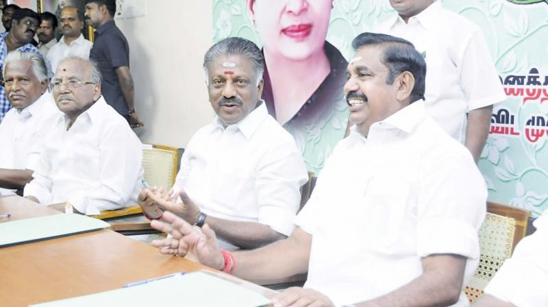 AIADMK coordinator and Deputy Chief Minister O. Panneerselvam and and joint coordinator and Chief Minister Edappadi K. Palaniwami at the party meeting in Chennai on Wednesday. — DC