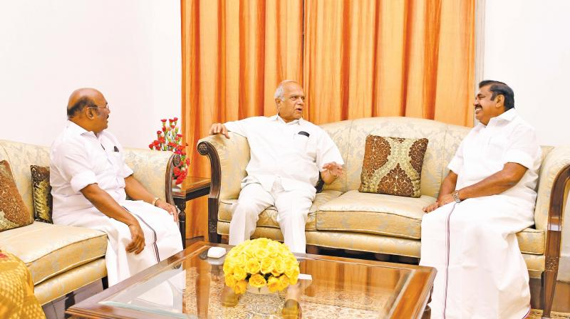 Chief Minister Edappadi K. Palaniswami calls on Governor Banwarilal Purohit on Wednesday. Minister D. Jayakumar and and Chief Secretary Girija Vaidyanathan are also seen. 	— DC