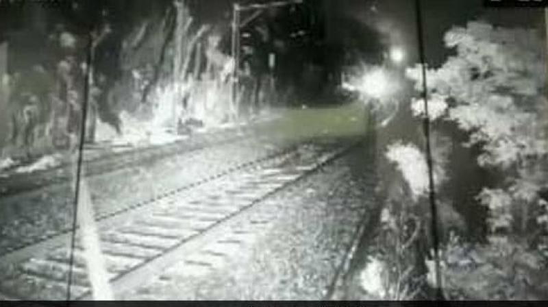 An accident was averted as CCTV monitoring staff noticed the boulder in time, a railway official said on Friday. (Photo: Twitter/ ANI)