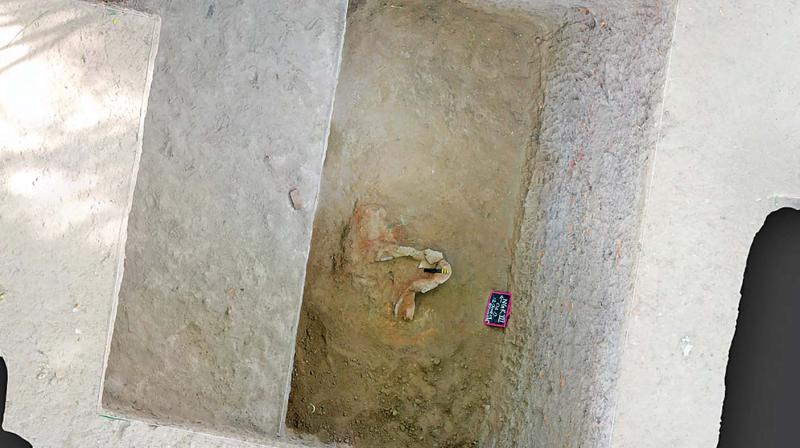 3D view of the trench with blacksmith's furnace.—DC
