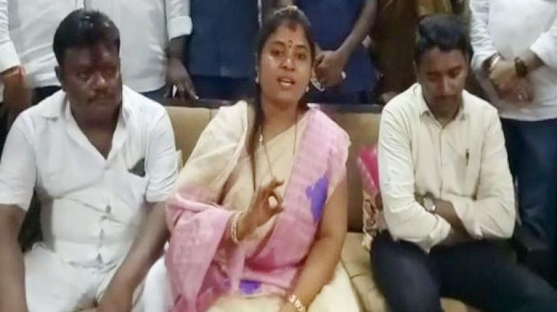 Andhra Pradesh Deputy Chief Minister P Pushpa Srivani on Saturday when she said her government aimed to deliver 'corrupt rule' in Andhra Pradesh. (Photo: ANI)