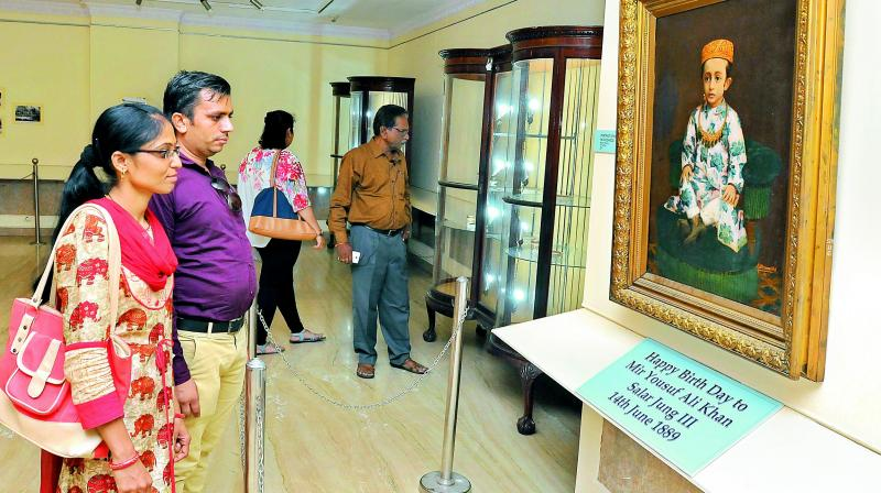 History enthusiasts from the city checking out the exhibition
