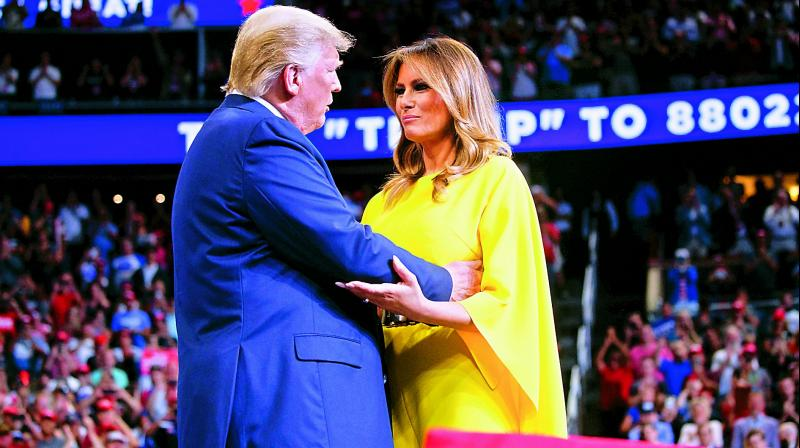 US President Donald Trump arrives to speak at his re-election kickoff rally with first lady Melania Trump at the Amway Centre on Tuesday in Orlando, Florida.  	— AP