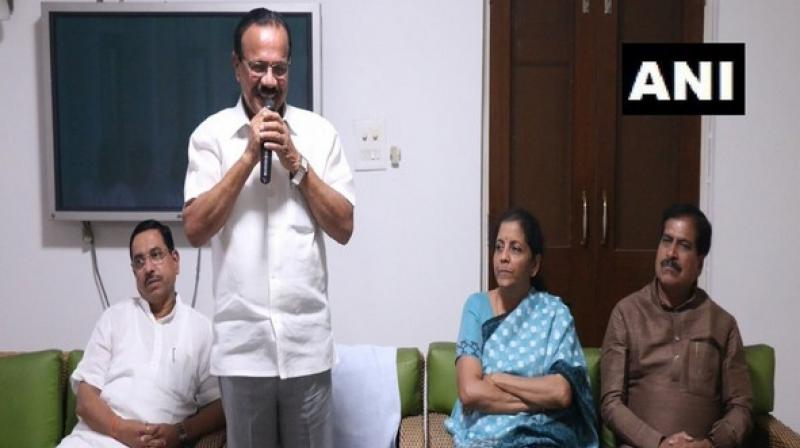 Finance Minister Nirmala Sitharaman, Parliamentary Affairs Minister Pralhad Joshi, Minister of State for Railways Suresh Channabasappa Angadi were among the attendees. (Photo: ANI)