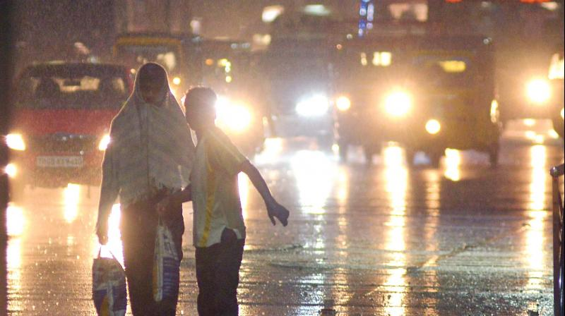 Heavy showers  witnessed at Ekkatuthangal near Guindy in Chennai on Saturday evening.  — DC