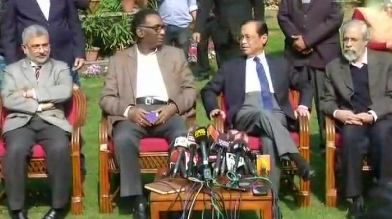 On Friday four – Justices J Chelameswar, Ranjan Gogoi, Madan Lokur and Kurien Joseph – addressed the media at Justice Chelameswar's home. (Photo: ANI)