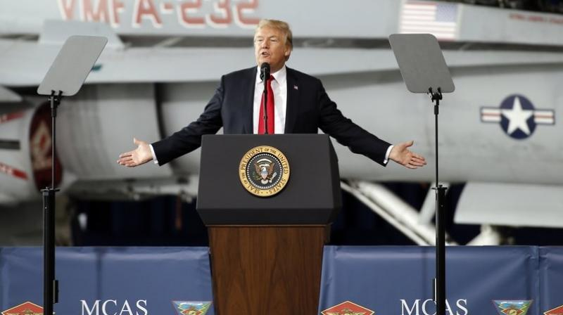 President Donald Trump speaks at Marine Corps Air Station Miramar in San Diego, Tuesday, March 13, 2018. (AP Photo/Alex Gallardo)