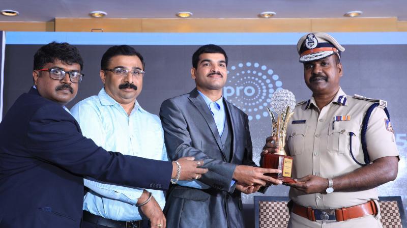 Additional Commissioner of Police (Traffic) P. Harishekharan receives the award on Saturday