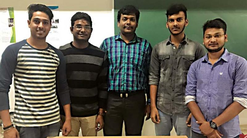 The CMRIT team behind the innovation with project mentor Prof. Naresh Dixit P.S. (centre)