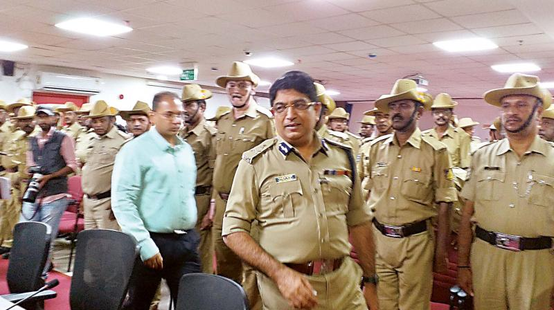 City Police Commisssioner Bhaskar Rao arrives to address police offficers at police commissioner's office in Bengaluru on Thursday.  (DC)