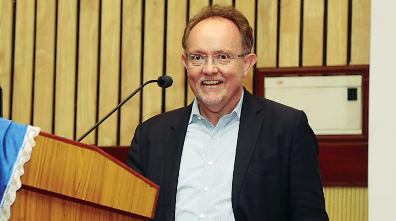 Prof Steven Wilkinson during a lecture in the city.