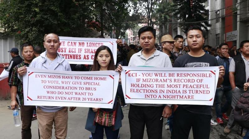 Hundreds of members of the Young Mizo Association continued their picketing in front of the CEO's office from 8 am. (Photo: Twitter | @JamiKoshy)