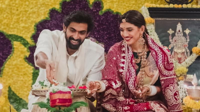 Rana Daggubati and Miheeka Bajaj  during the pooja