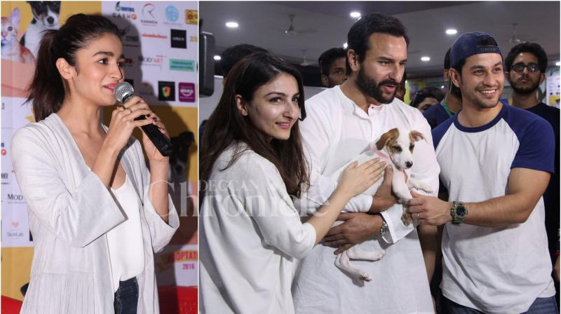 On Saturday, Alia Bhatt, Saif Ali Khan, Soha Ali Khan and Kunal Kemmu stepped out to show their support for animals at an adoption camp which was held in Mumbai. (Photo: Viral Bhayani)