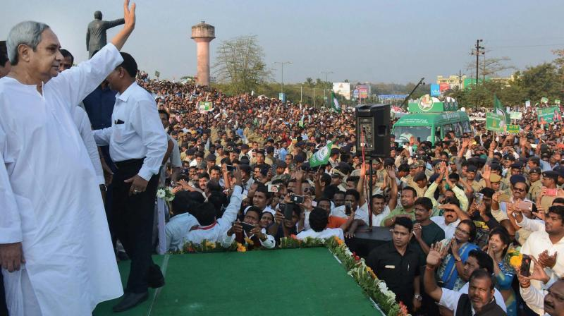 A file photo of BJD chief and Odisha Chief Minister Naveen Patnaik at a public rally. The BJD is hoping to win most of the 21 Lok Sabha seats in the next election