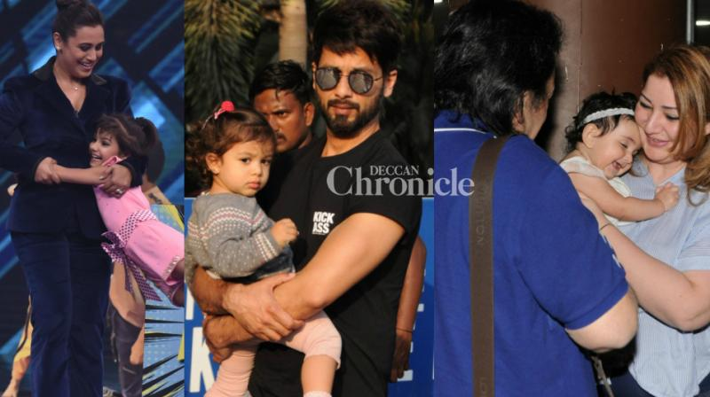 Bollywood stars were spotted at the airport and another location in Mumbai on Monday, and their moments with children stood out. (Photo: Viral Bhayani)