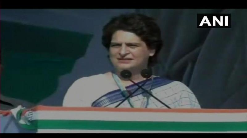 Priyanka Gandhi Vadra made her debut speech at a rally in Gandhinagar. (Photo: ANI/Twitter)