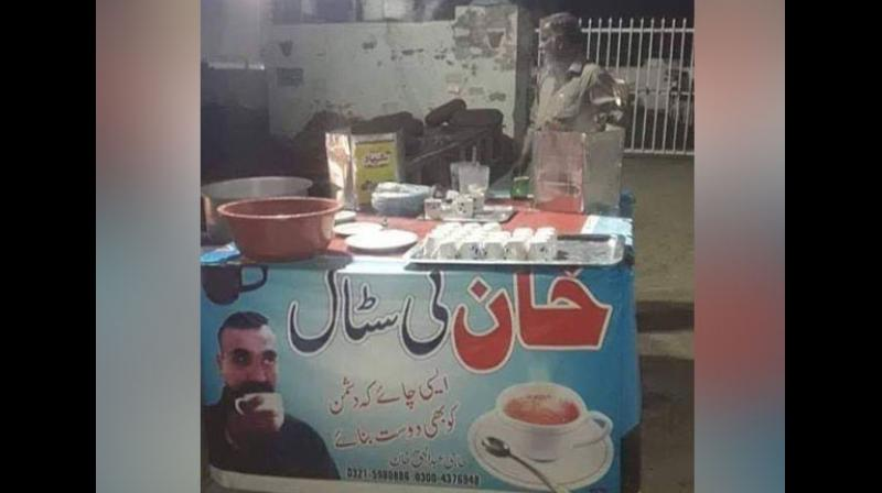 A tea stall somewhere in the country has put up a banner with an image of Wing Commander Varthaman, sipping tea, and the text on the banner in Urdu reads: 'Aisi Chai Ki Dushman Ko Bhi Dost Banaye.' (Photo: ANI)